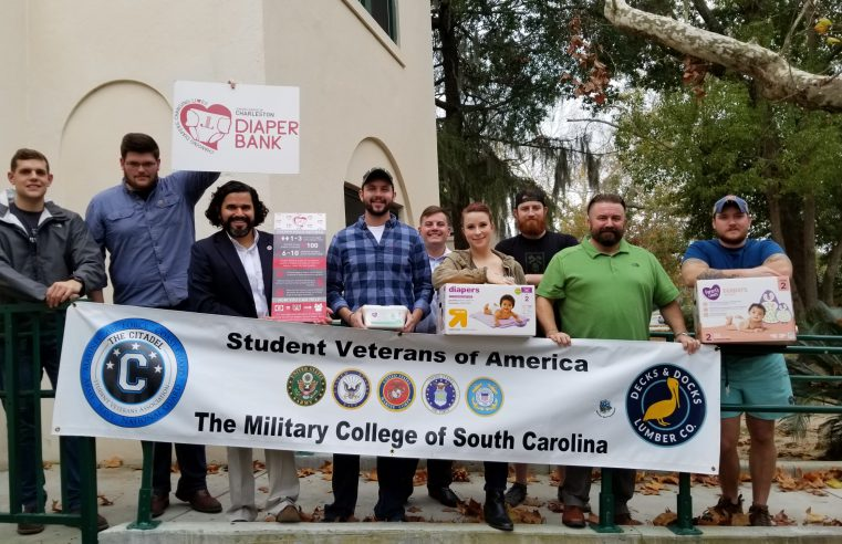 veteran students at citadel holding campus diaper drive for holidays