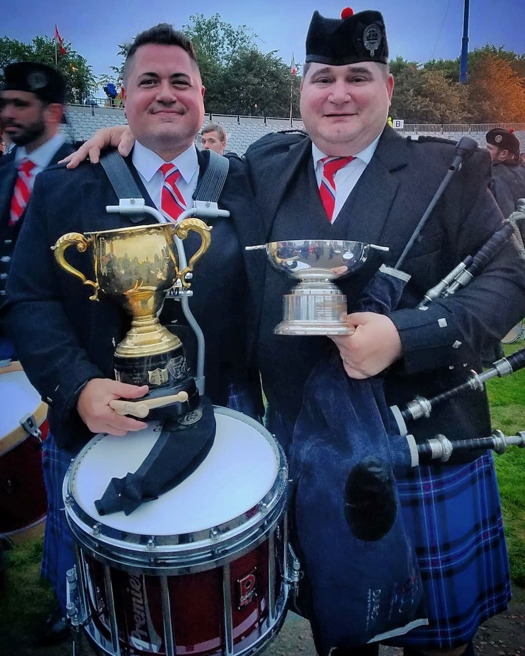 Will and Jim (right) Dillahey with their world championship trophies