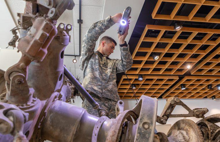 Citadel cadet scans roter of Black Hawk Helicopter