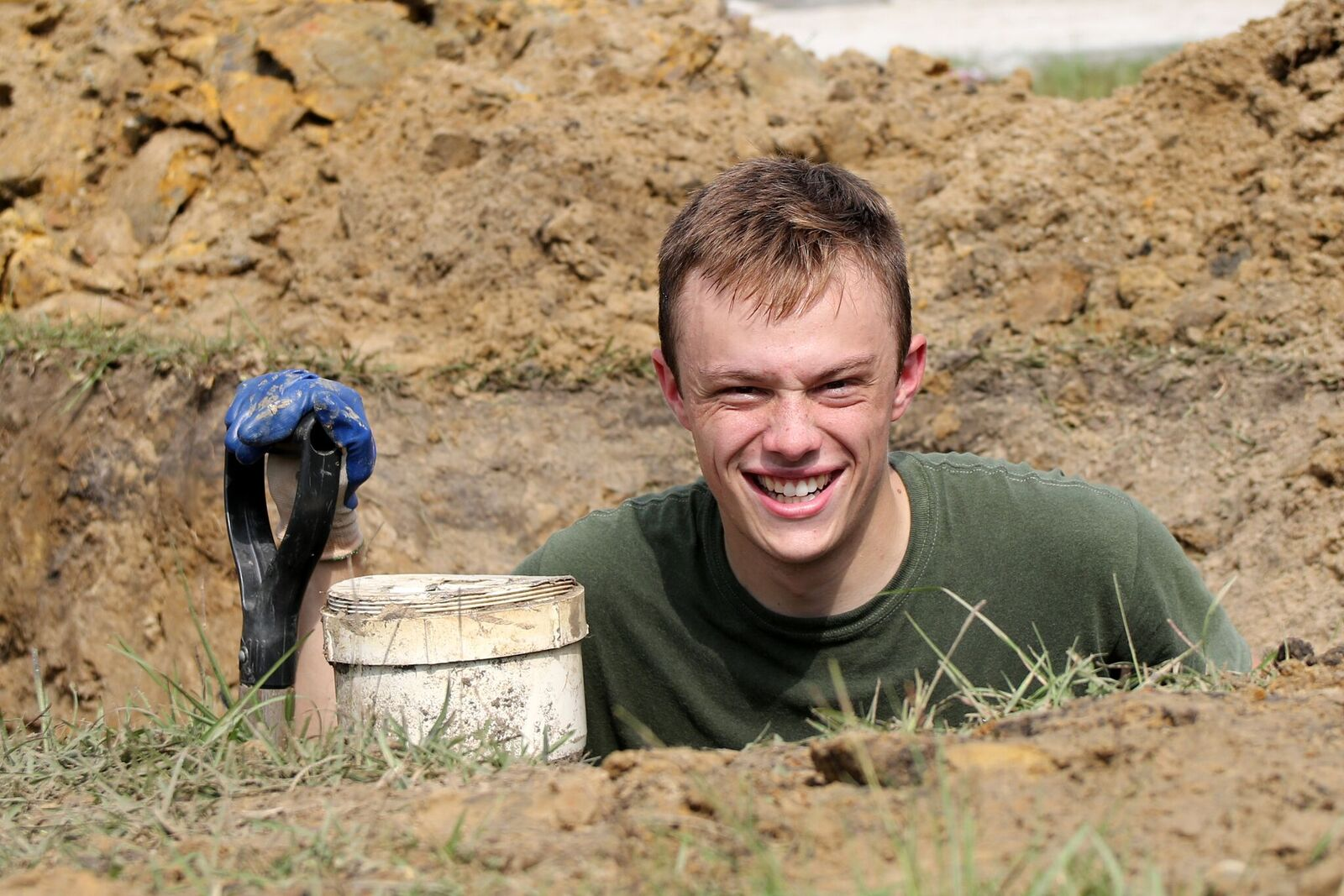 Cadet working on foundation for Habitat home