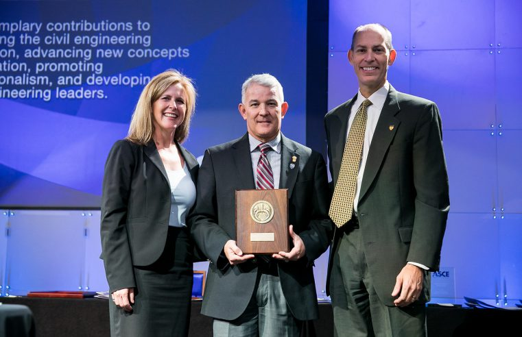 Citadel dean of Engineering, Ron Welch (center) accepts award from ASCE officers in Denver