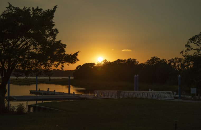 Sunset at the future site of the Swain Boating Center on the Ashley River