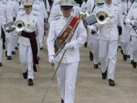 Cadet Hunter Crawley, Regimental Drum Major leading the Citadel Regimental Band and Pipes