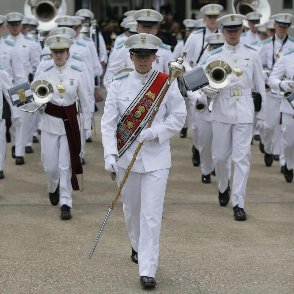 Cadet Hunter Crawley, Regimental Drum Major leading the Citadel Regimental Band and Pipes