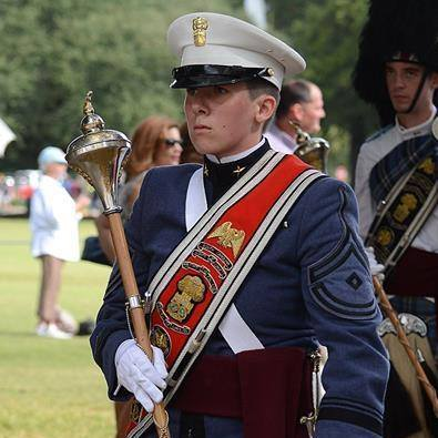 Crawley leading The Citadel Regimental Band and Pipes