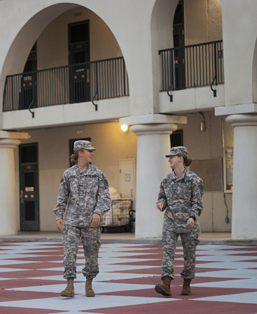 Cadets Sarah Zorn and Jennifer Pozzani take a moment out of their hectic 24-hour schedule to talk.