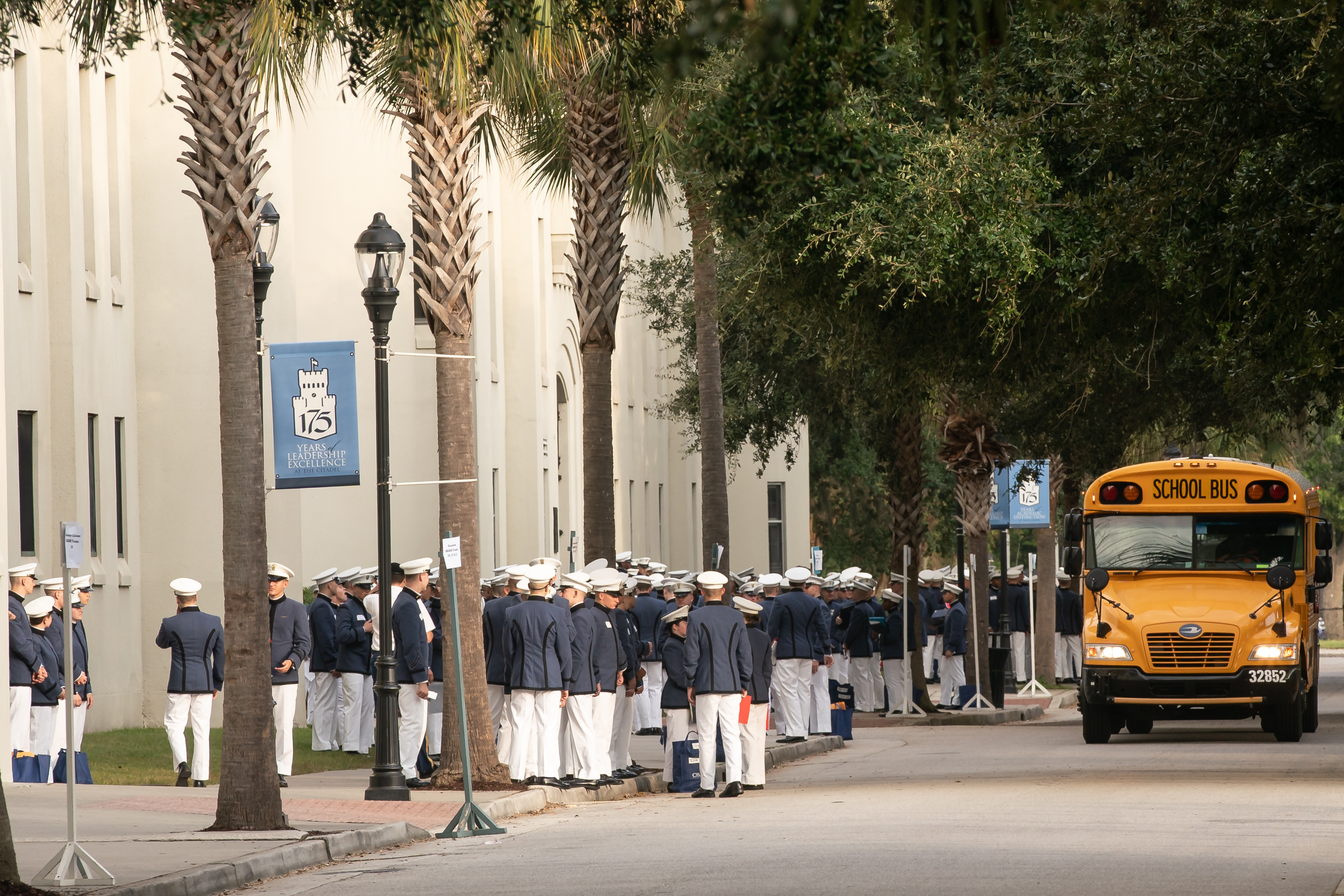 Cadets board buses on Leadership Day 2018