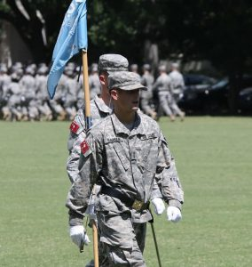 Cadet Logan Barber in The Citadel military review parade