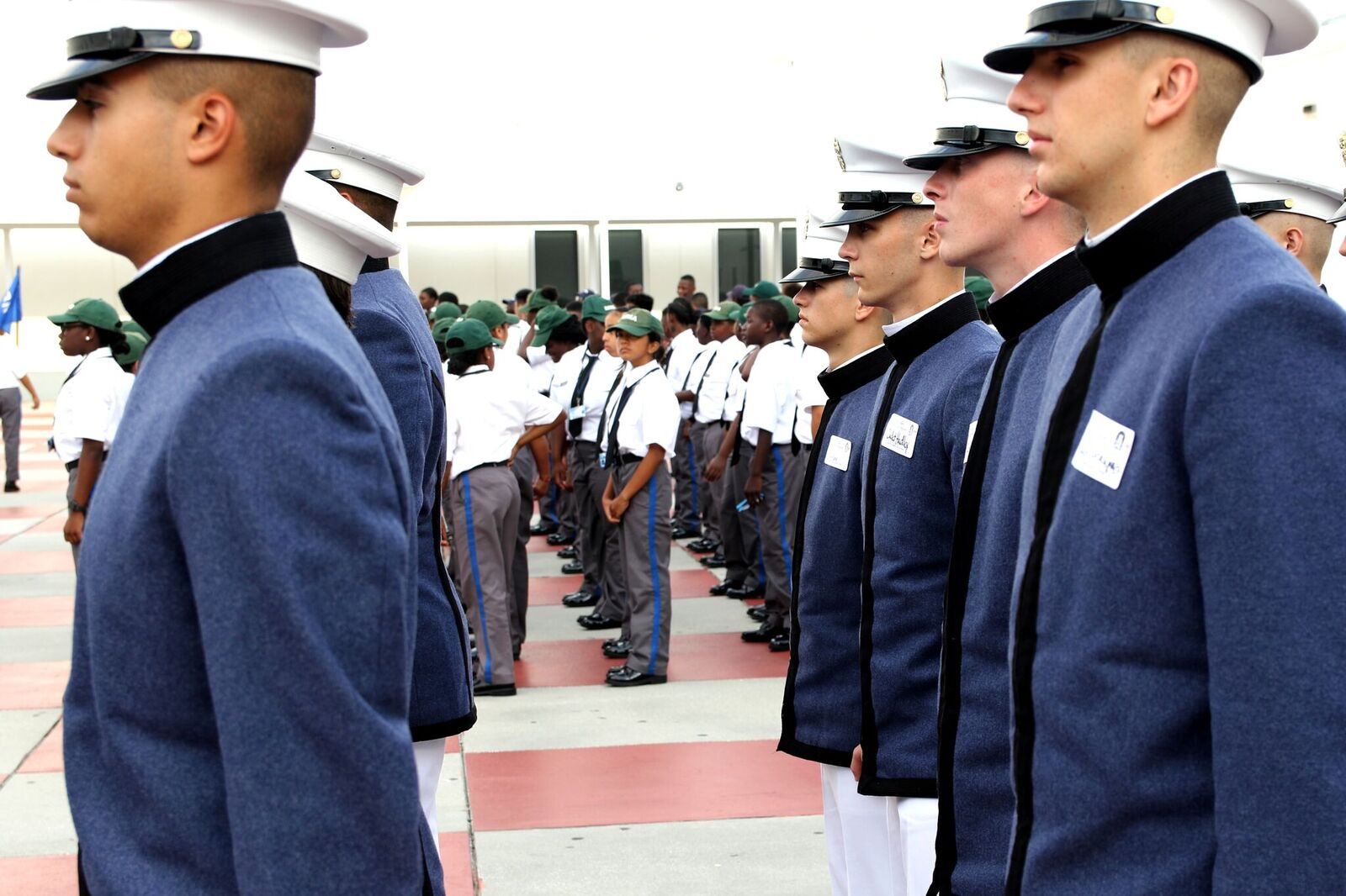 Citadel cadets join Military Magnet Academy cadets for a review parade
