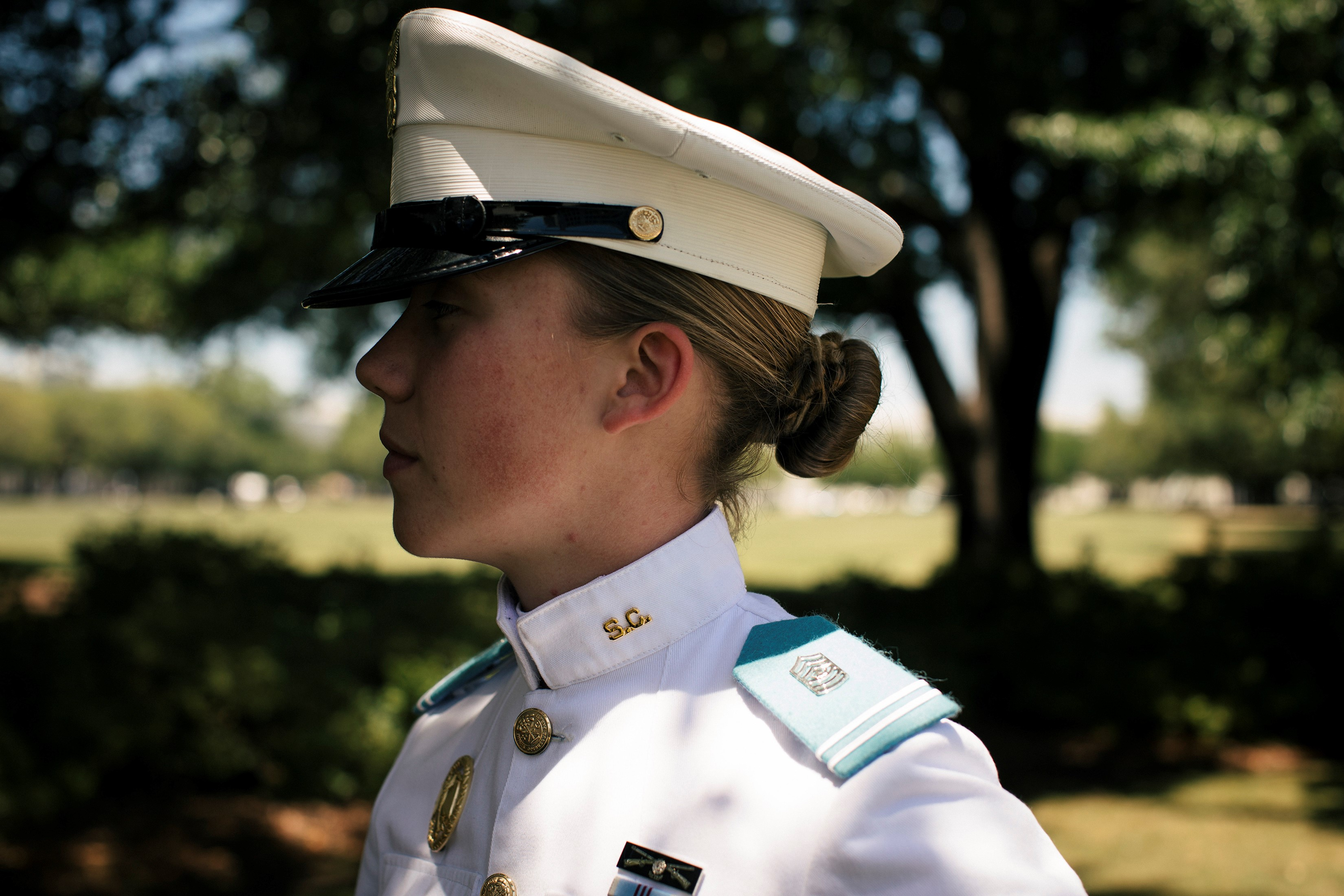 Sarah Zorn stands in profile on The Citadel's parade field
