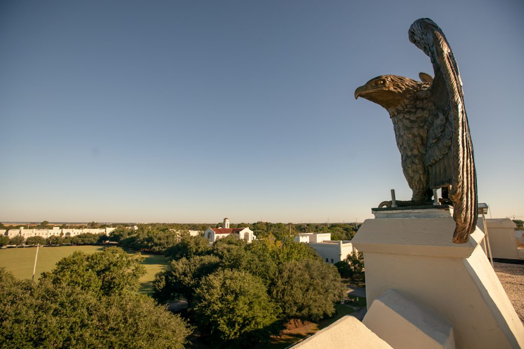 The Citadel's new Bond Hall sentinel watches over campus