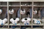 Bulldogs gear in Alabama locker room. By Lou Brems, Citadel photographer.