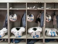 Bulldogs gear in Alabama locker room. By Lou Brems, Citadel photographer.