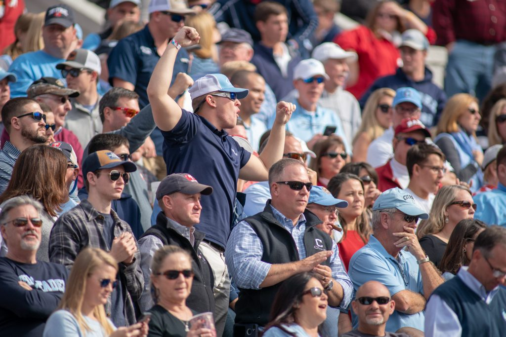 Citadel fans during Bulldogs and Alabama game, Bryant-Denny Stadium. By Lou Brems, The Citadel.