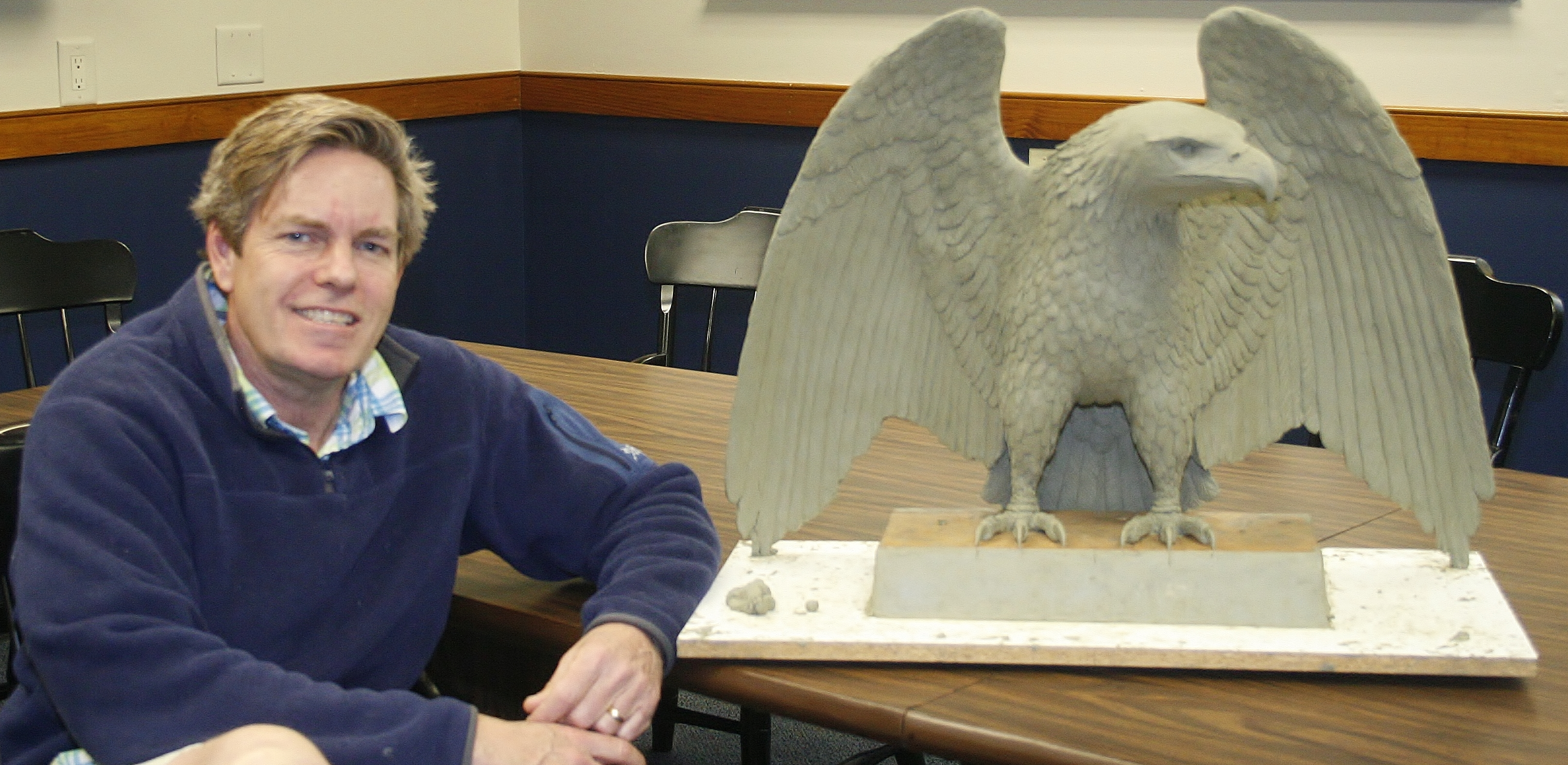 Bond Hall eagle model and sculptor Scott Penegar