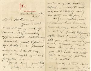 "John H. David, Jr. letter written ""somewhere at sea"" (Source: Citadel Archives and Museum)"