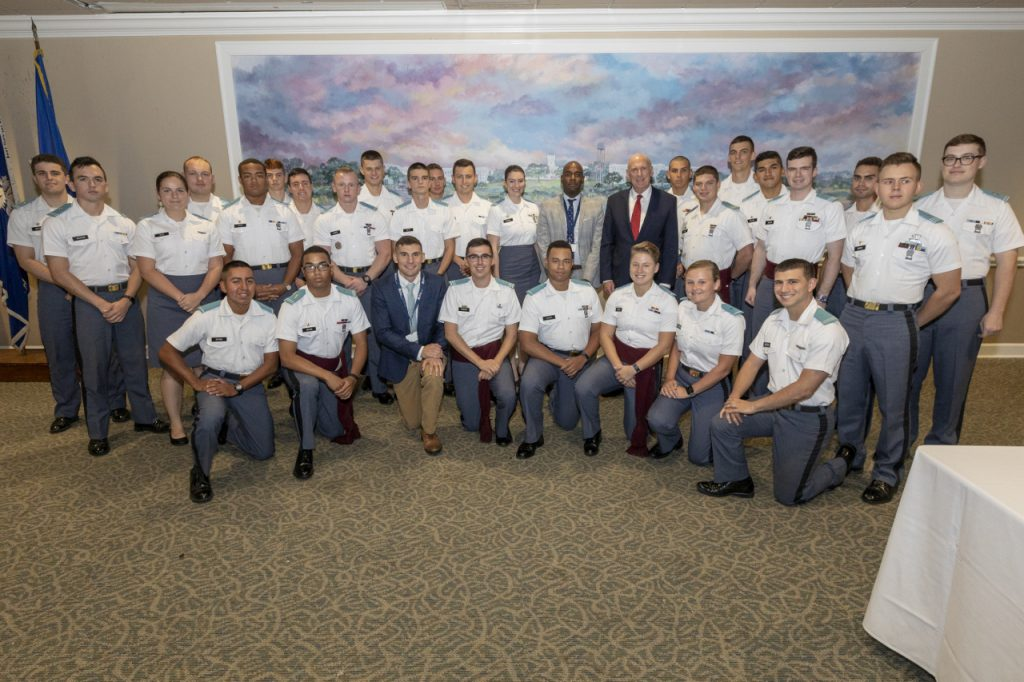 DNI Dan Coats with intelligence and cyber security studies cadets at The Citadel
