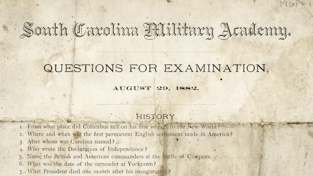 A copy of The Citadel's entrance exam from 1882
