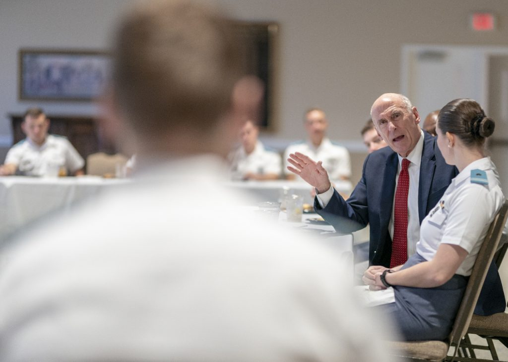 Director f National Intelligence, Daniel Coats, speaking to members of the South Carolina Corps of Cadets who study intelligence, Sept. 25, 2018