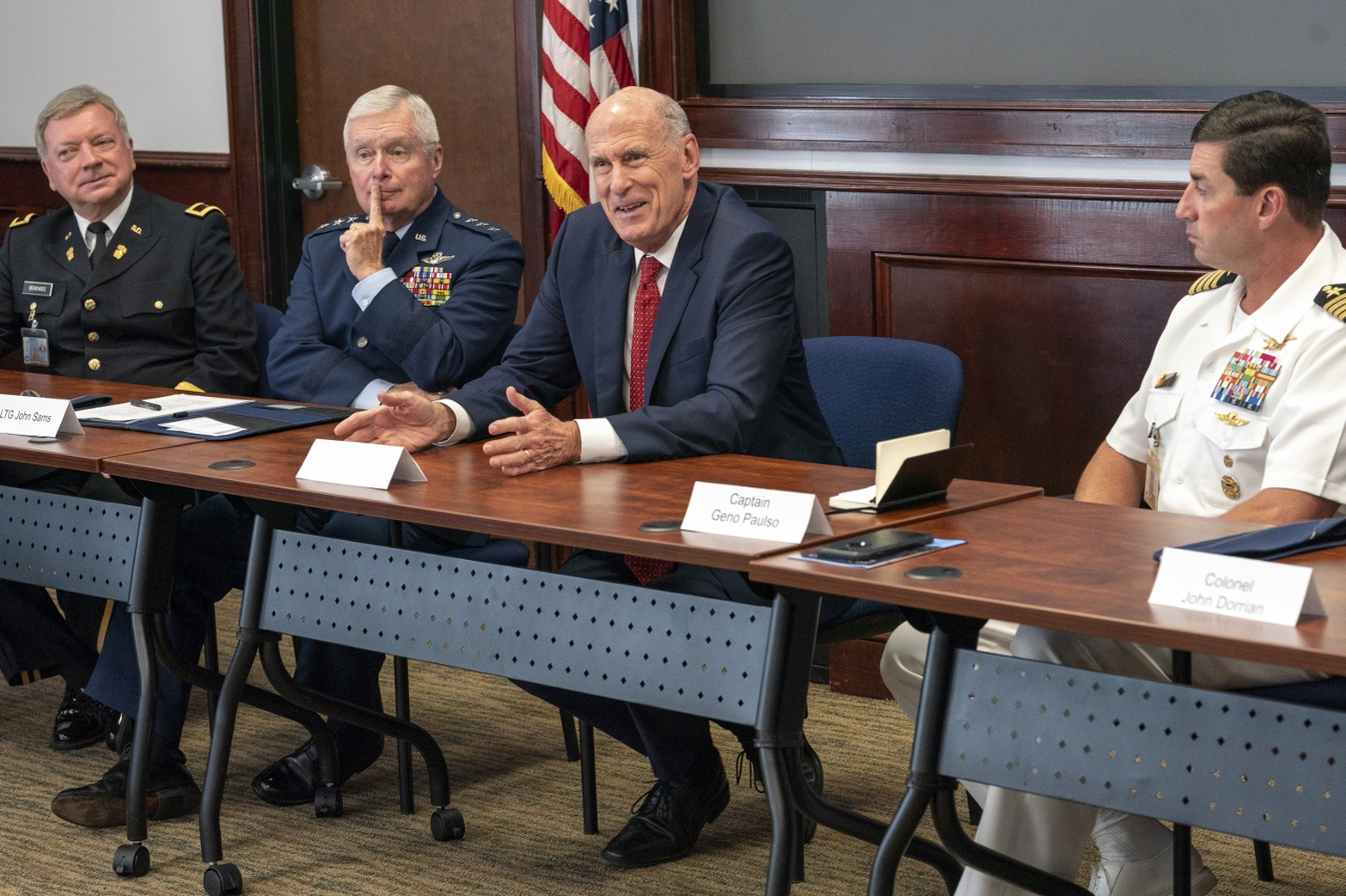 Dr. Mark Bebensee; Lt. Gen. John. B. Sams, USAF (Ret.); Director Dan Coats, DNI; Capt. Geno Paluso USN (Ret.) at The Citadel Sep.25, 2018