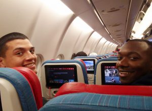Cadets Elijah Melendez and Marcus Milhouse on Dec. flight to Rwanda
