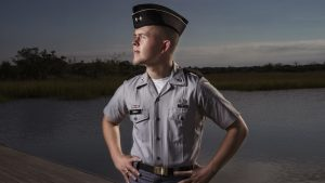 Cadet Chad Dekold stands in front of the Ashley River
