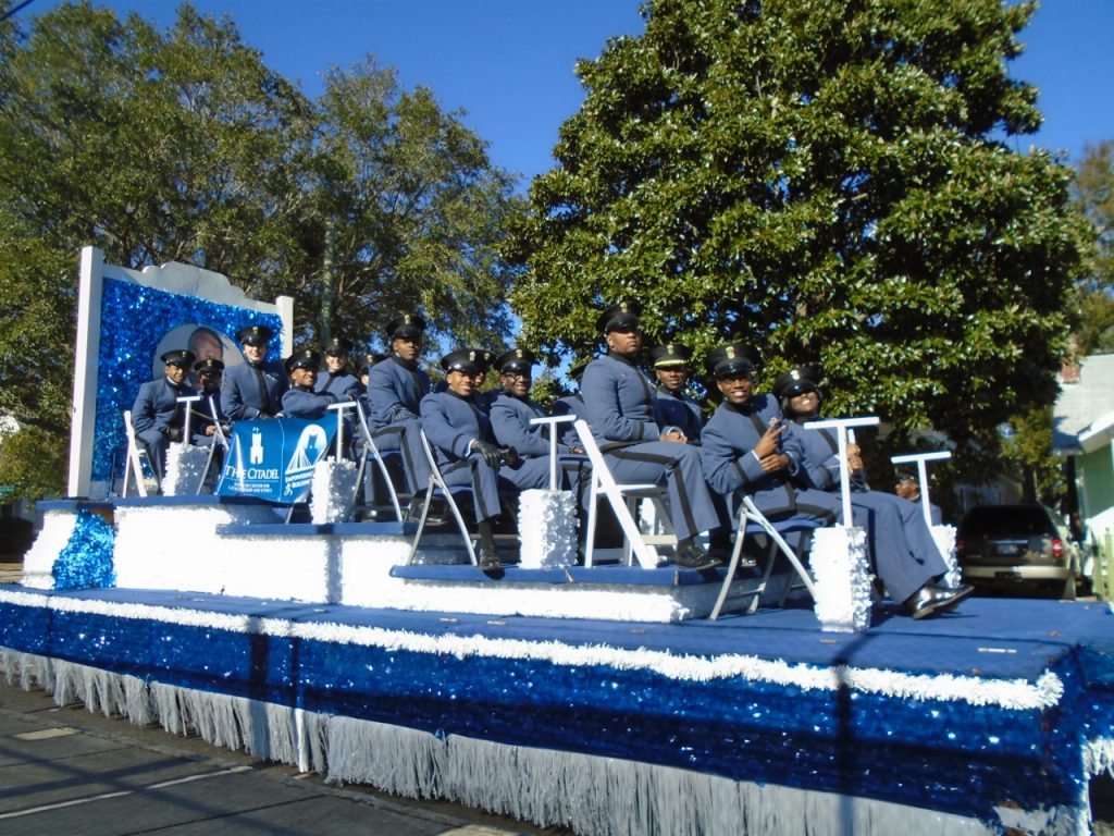 Citadel Cadet float in MLK Day Parade, Charleston, SC Jan 21 2019