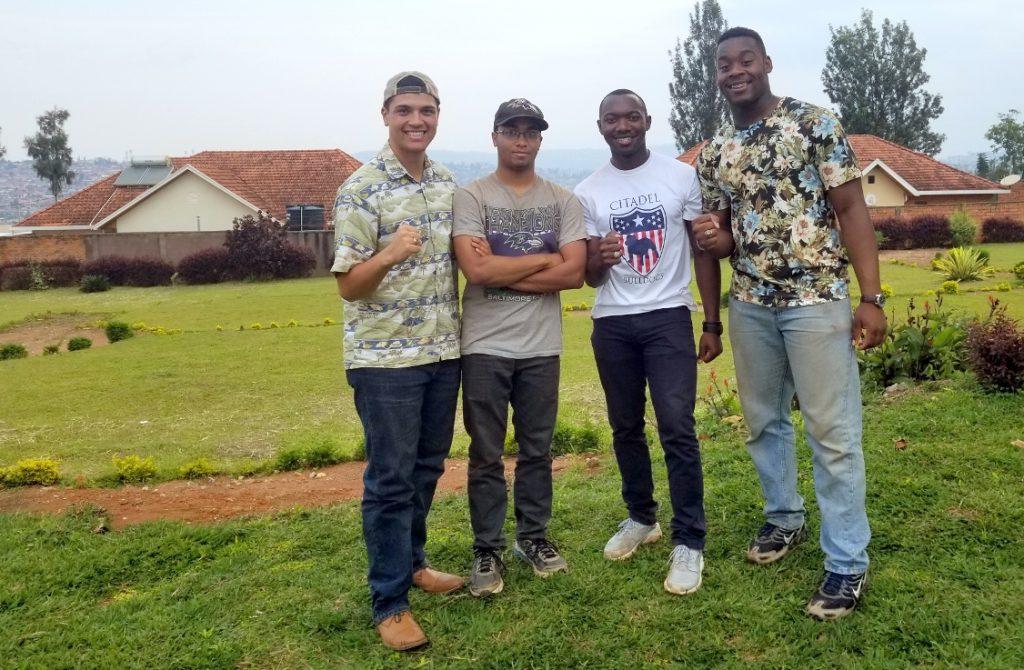 Left to right: Elijah Melendez, Rhaei Brown, Marcus Milhouse and David Days in Rwanda in Dec. 2018