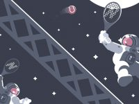 Illustration of Astronauts playing tennis in space