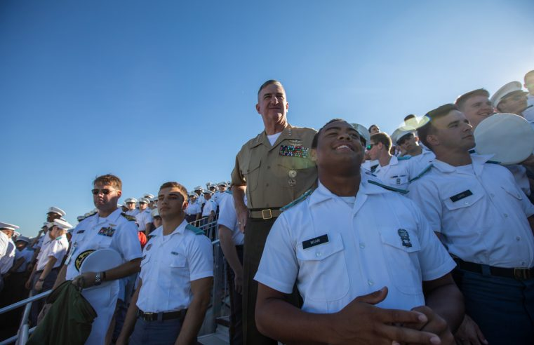 Citadel President, Gen. Glen Walters, USMC (Ret.) with cadets at Bulldogs game