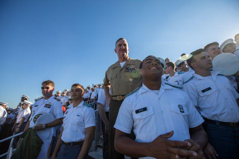 Citadel President, Gen. Glen Walters, USMC (Ret.) with cadets at Bulldogs game