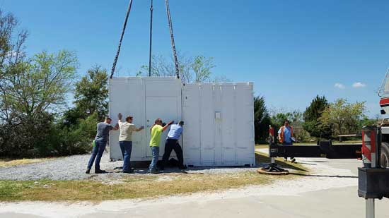 One of two containers is installed on The Citadel's campus