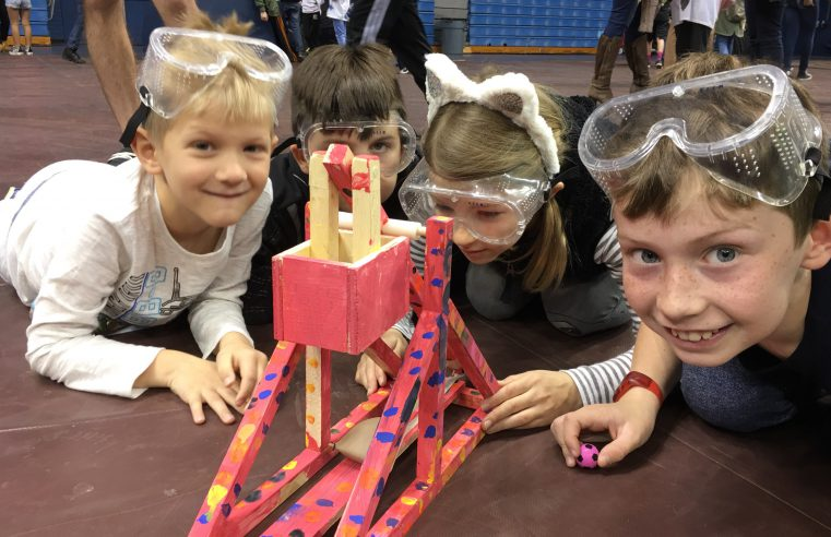 Carolina Park K-5 Trebuchet Team competing at Storm The Citadel 2019