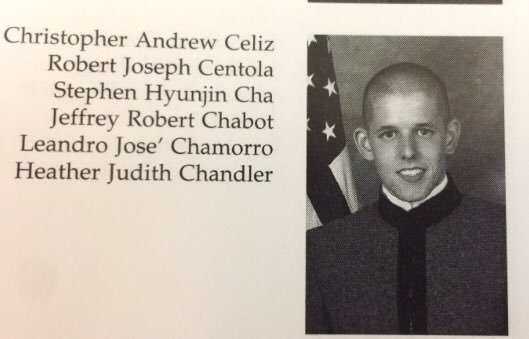 Christopher Andrew Celiz as a cadet at The Citadel