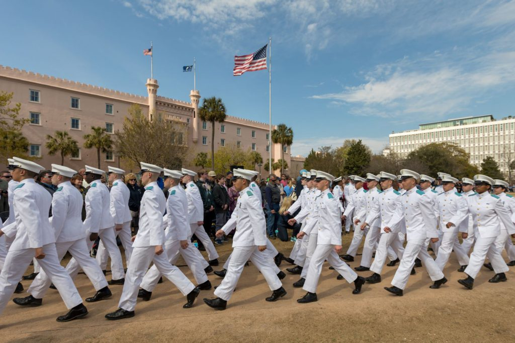 Freshmen cadets march to Marion Square