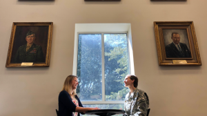 Holly Irvine and Taryn Hall in Daniel Library