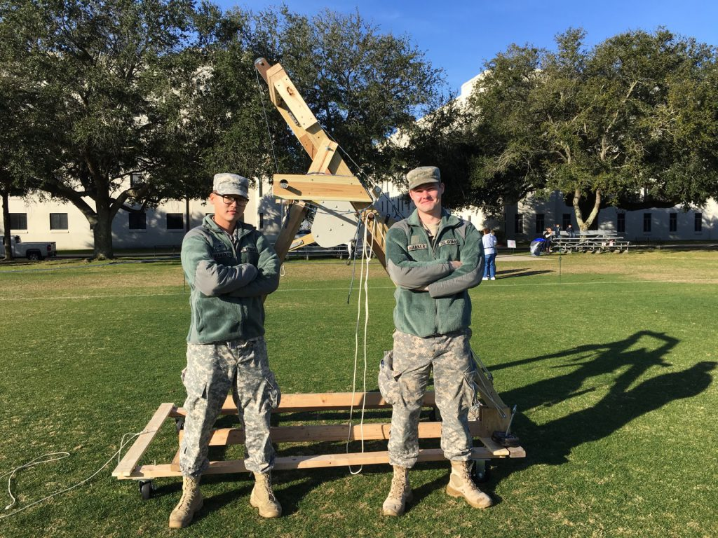 The Citadel's own Storm The Citadel trebuchet team 2019