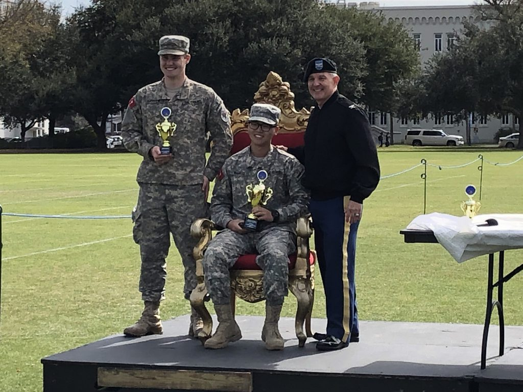 Citadel cadets accepting college distance and accuracy awards