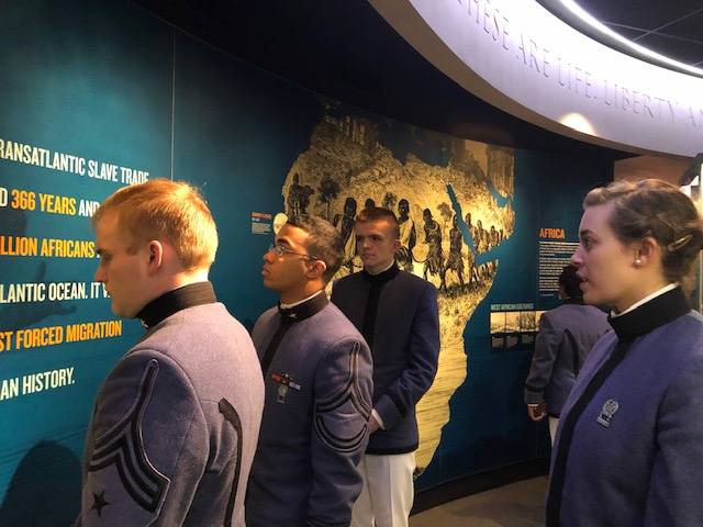 Cadets at exhibit in National Civil Rights Museum