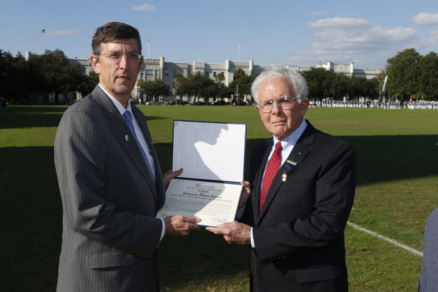 Citadel BOV Emeritus Member Doug Snyder presenting Palmetto Award to Col. Myron Harrington in 2013