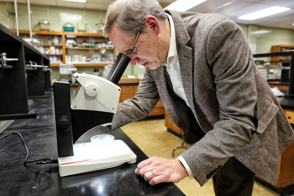 Dr. John Weinstein studies microplastics at The Citadel (Courtesy: Victoria Hansen, SC Public Radio)