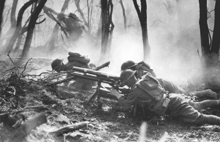 American troops of the 23rd Infantry advance against German forces. National Archives photo.