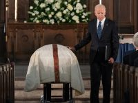 Former Vice President Joe Biden says goodbye to his longtime friend Fritz Hollings after delivering the eulogy at the funeral of the late former South Carolina Senator at Summerall Chapel on the campus of The Citadel, the Military College of South Carolina in Charleston, S.C., Tuesday, April 16, 2019