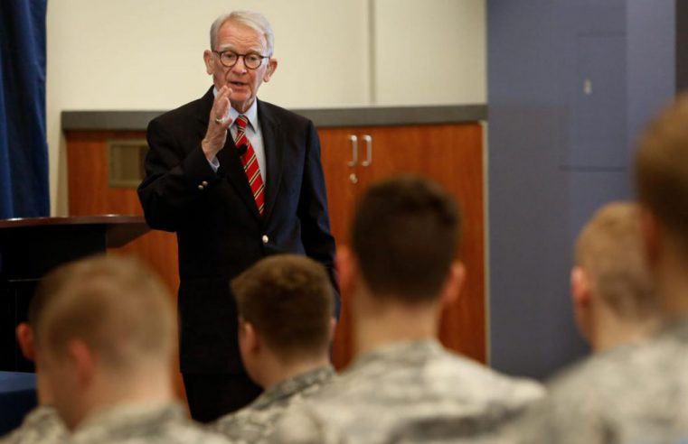 Prof. and former Charleston Mayor Joe P. Riley Jr. teaching at The Citadel