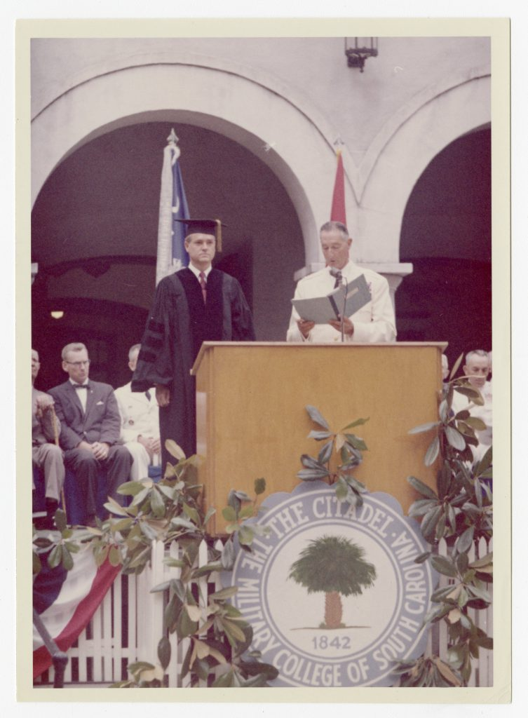 Fritz Hollings being presented with an honorary degree by former Citadel president, Gen. Mark Clark