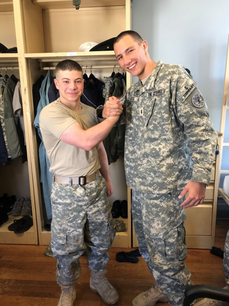 Cadet John Simone III (left), with Honors Program classmate Cadet William Metts Jr.