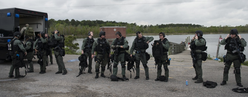 The Charleston County S.W.A.T. team dons their gear for a joint training exercise