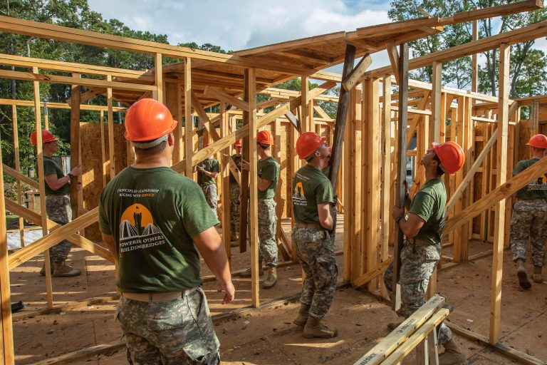 Citadel cadets frame a house for Habitat for Humanity on Leadership Day 2018