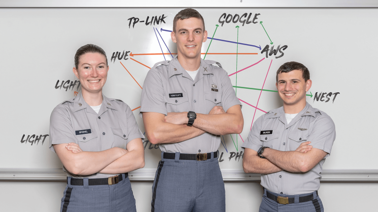 Citadel cadets stand in front of whiteboard with IOT map