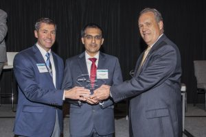 (Left to right) Dr. Darin Zimmerman, Dean for The Citadel Swain Family School of Science and Dr. Shankar Banik, Director of Center for Cyber, Intelligence and Security Studies at The Citadel, accepting award from Cyber SC director Tom Scott.